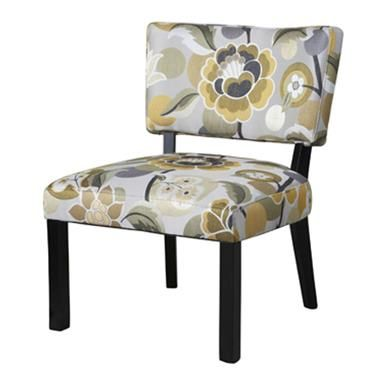 Classic Seating Yellow Gray Black Rayon Polyester Floral ...
