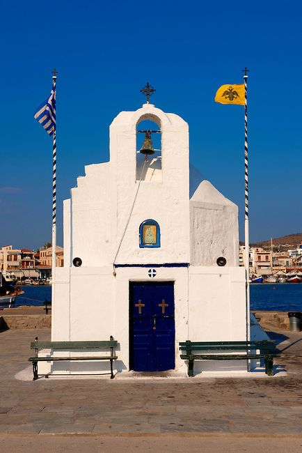 The Byzantine church of Ayios Nikolaos Thalassinos, Aegina port, Saronic Islands, Greece