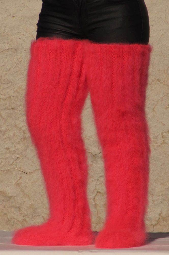 MOHAIR Hand knitted NEON CORAL Huge socks soft leg warmers unisex Stockings Cosy #Handmade #Casual