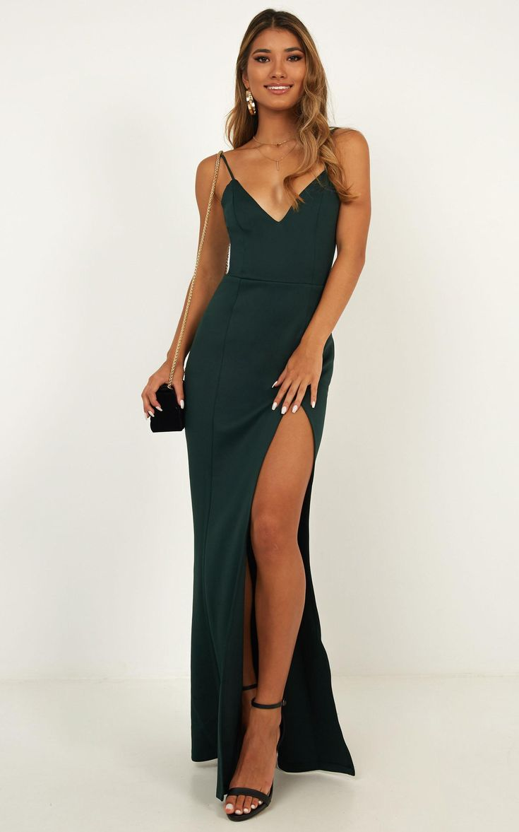 Dare To Dream Maxi Dress In Emerald Produced