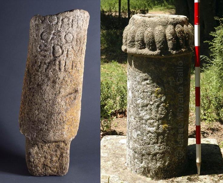Miliarios gemelos en la misma vía romana, poco frecuentes por su tamaño y momento histórico, del emperador Constantino. El del Alba de Villalazán, a la izquierda y el de Puerto de Béjar, a la derecha (MP 131).