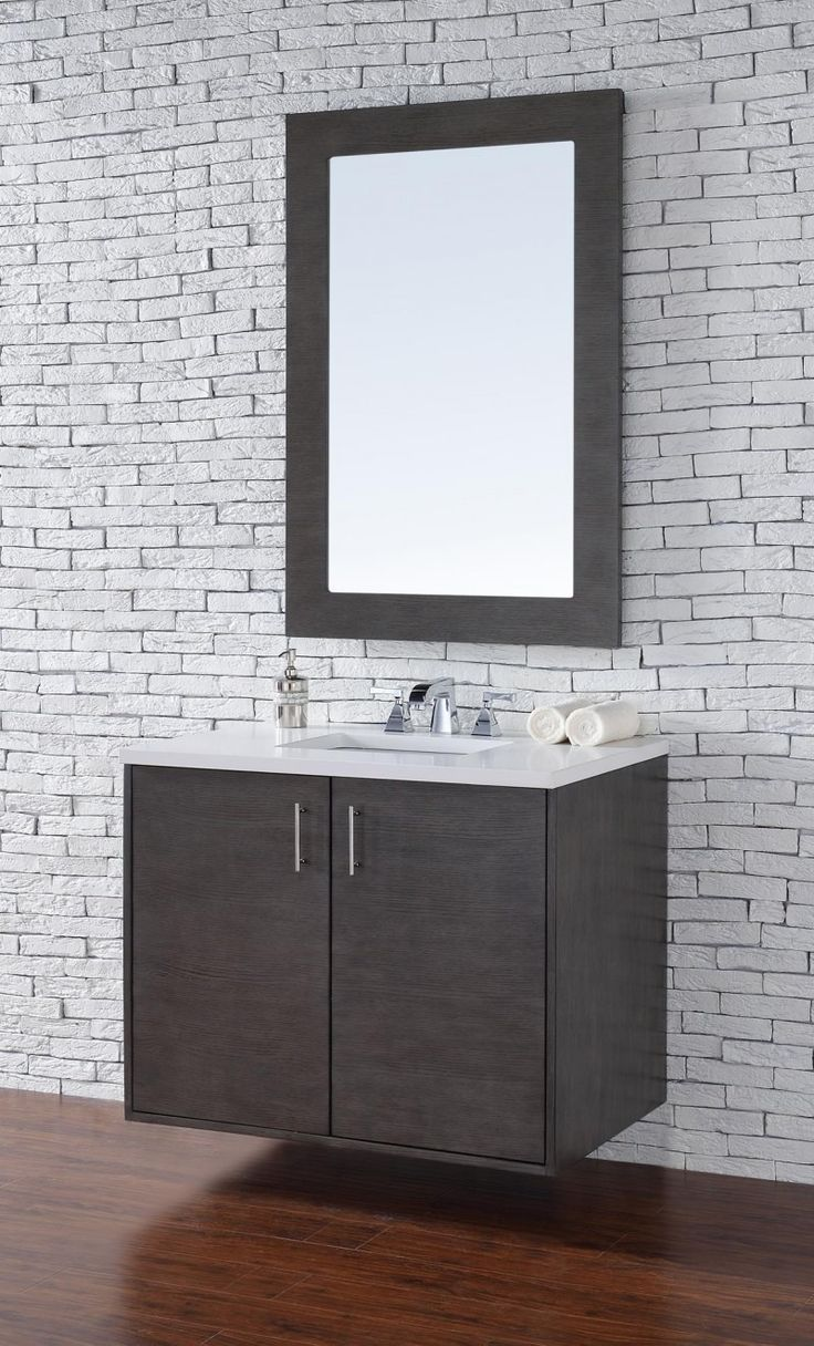 shades bathroom furniture uk%0A Metropolitan      Single Sink Wall Hung Bathroom Vanity Cabinet  Silver Oak  Finish  Pure
