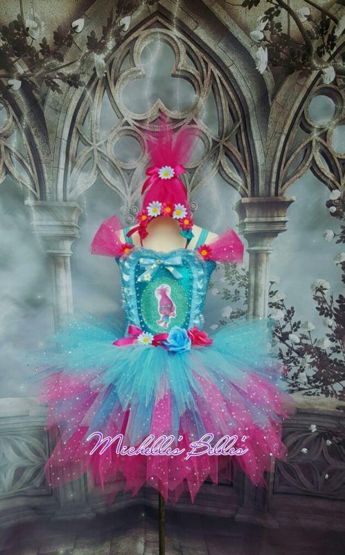 Poppy Trolls style premium tutu dress