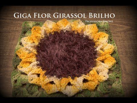 Giga Flor em crochê Girassol Brilho - Professora Simone