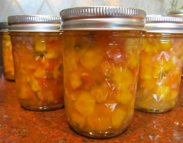 Peachy Mango Salsa, Canned for Chris! from Food.com:   								Chris aka Chef #1118755 made and reviewed my recipe #68547 and asked about canning it. This is the result of that recipe. I did add garlic and or ginger to it. Yes an optional choice. Used fresh jalapenos in place of the canned green chilies. Be sure not to use over ripe mango's, they need to be firm but fresh. If they are so soft you can't peel with a vegetable peeler they are too soft.