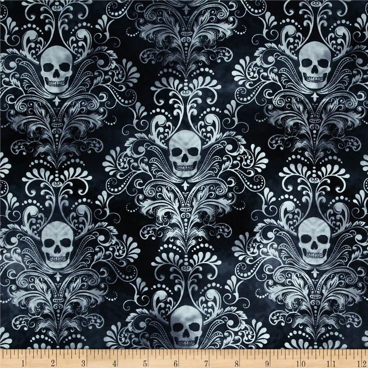 Timeless Treasures Skulls Damask Charcoal from @fabricdotcom  Designed for Timeless Treasures, this cotton print fabric is perfect for quilting, apparel and home decor accents. Colors include white and shades of grey and blue.