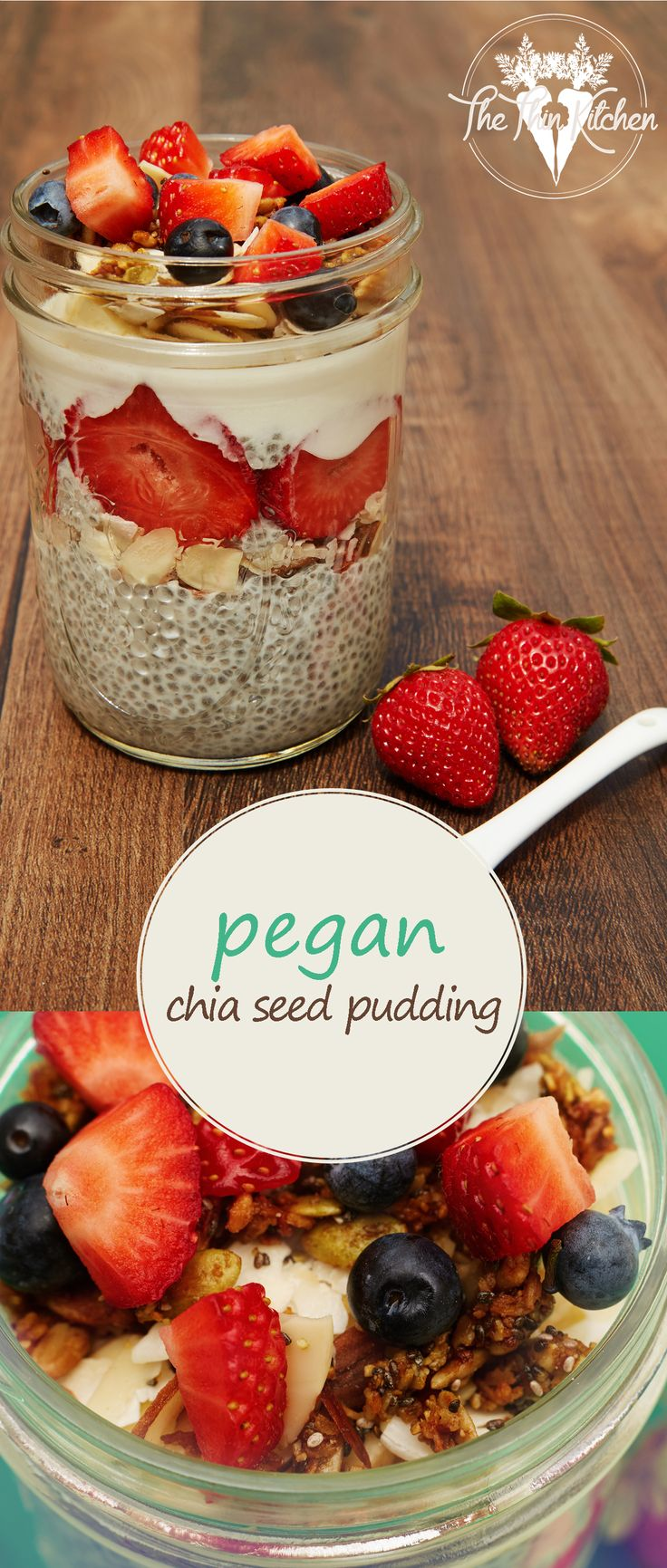 Pegan (Paleo + Vegan) Chia Seed Pudding topped with Paleo granola, berries, coconut and almonds. Great for breakfast or dessert ;)