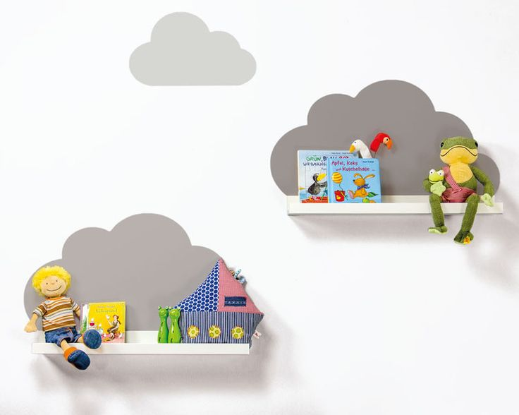 Fabulous Kinderzimmer einrichten Wolken Stickern f r IKEA Set mit Wandtattoos passend f r IKEA Ribba Mosslanda Bilderleisten f r das Kinderzimmer