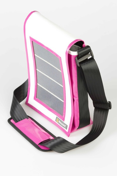 SunnyBAG Faction Mini Pink Tiger - solar power messenger bag that charges your mobile devices while you go! Made from recycled truck tarpaulins and seat belts :)