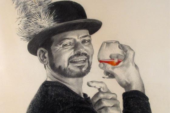 Autorretrato de Enrique Grau. Carboncillo y pastel sobre papel.