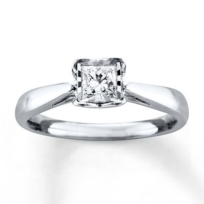 HEARTessence Diamond Ring 3/8 Carat Princess-cut 10K White Gold