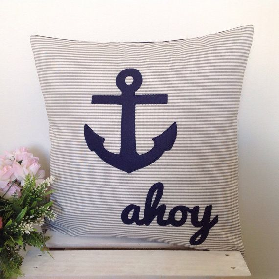Cushion Cover Grey Stripe Fabric Navy by natandalicreative