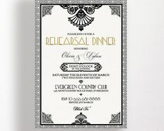 Rehearsal Dinner Invitation Gatsby Art Deco Black White and Gold Dinner Party Wedding Engagement Shower Printable Classic