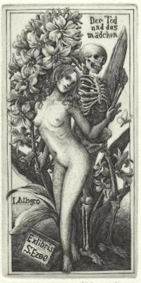 old book plate - death
