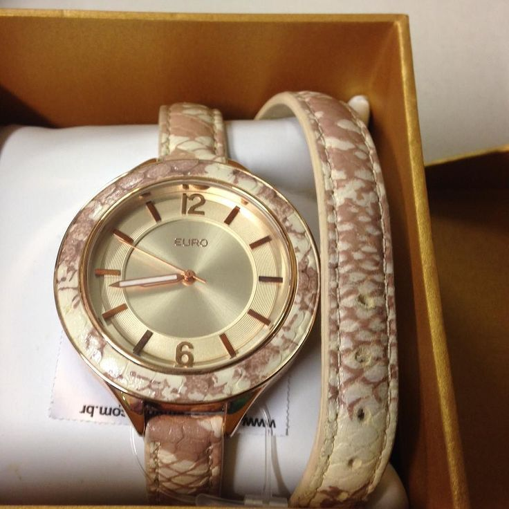 Relógio #Euro pulseira de couro com estampa de cobra novinho ainda na caixa  #brechocamarimtododianovidade  #brecho