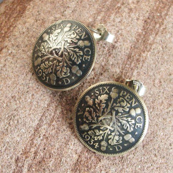 Stud Earrings Handmade 1934 And 1931 Real Old Silver Coins