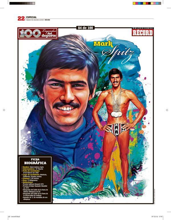 Mark Spitz 100 Leyendas del Deporte / 100 Sports Legends by Jesús R. Sánchez, via Behance