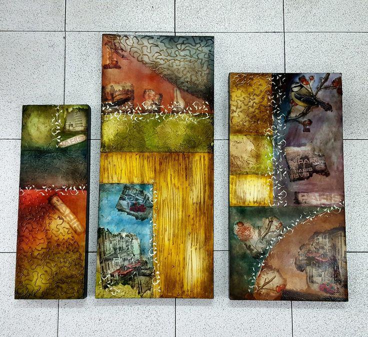 Cuadro Abstracto en pintura y servilleta