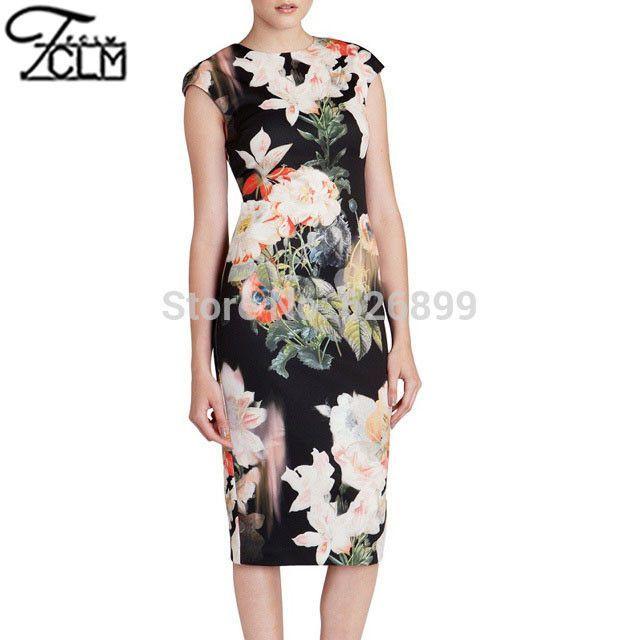 Sexy New Women's Big Floral Printed Clubwear Dress Ladies Bodysuit Prom Gown Pencil Dress EC9207