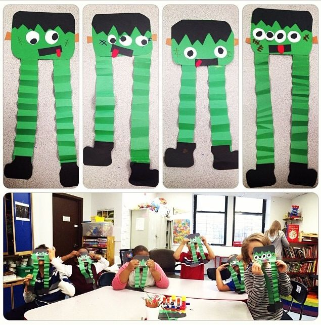 Halloween Frankenstein art lesson project - special education - elementary age student artwork- a focus on fine and gross motor skills