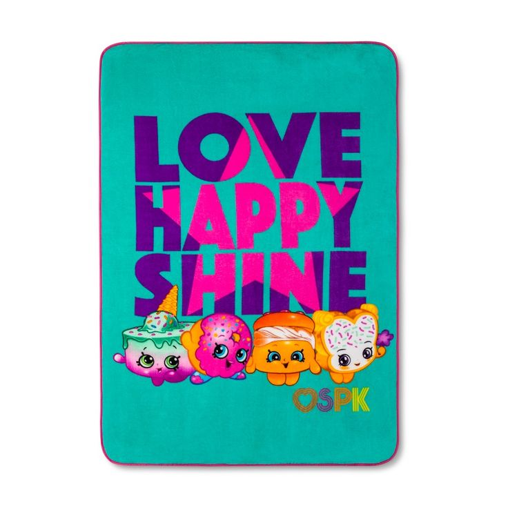 "Shopkins Pink & Turquoise Throw Blanket (46""x60"")"
