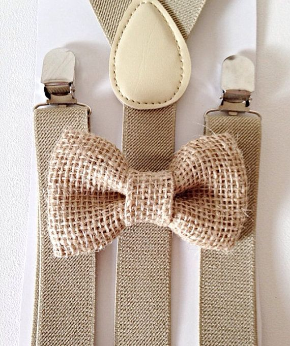 Tan khaki suspenders + Burlap Bow Tie SET Kids Children Toddler Baby Boys Boy Fits Ages 6months- 13 years old on Etsy, $8.89