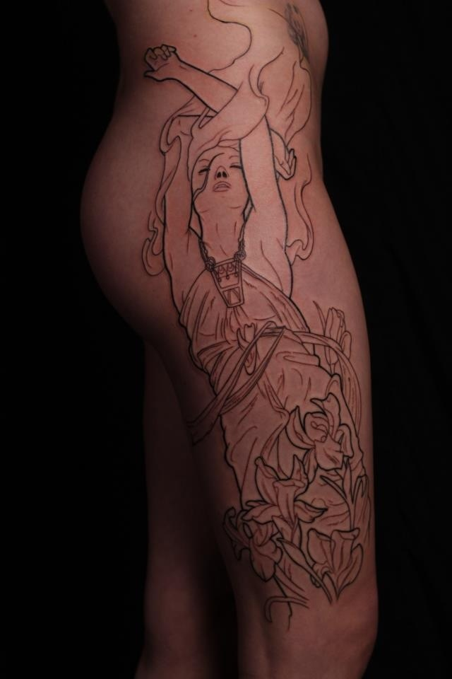 My tattoo inspired by Alophonse Mucha (Amethyst) First session by Austin Evans at Transformation Gallery and Tattoo of Springfield Missouri