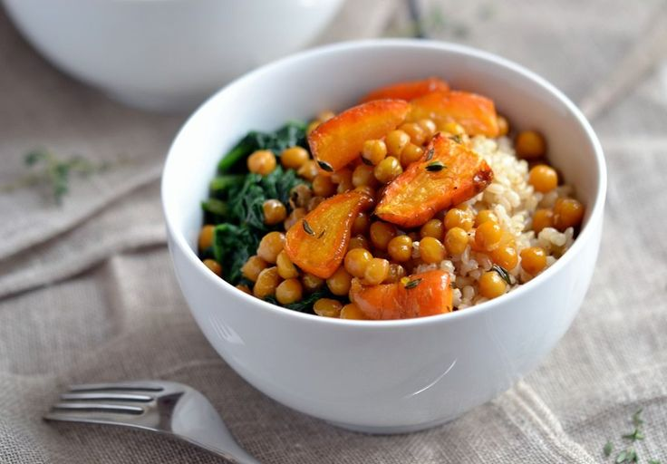 Maple-Orange Roasted Chickpeas & Carrots - also need thyme, orange zest and juice; goes well with brown rice and steamed spinach; coconutandberries.com