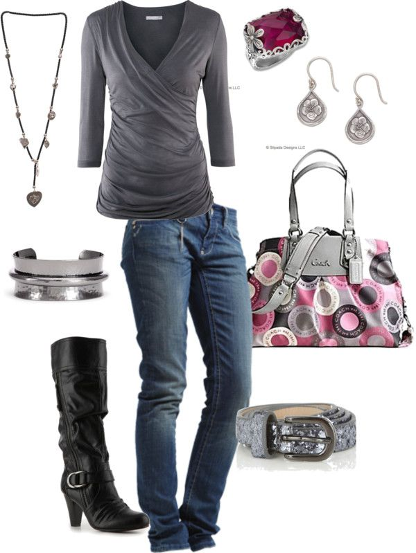 Casual Outfit: Coach Bags, Style, Clothing, Shirts, Gray Storms, Coach Purses, Cute Outfits, Casual Outfits, Boots