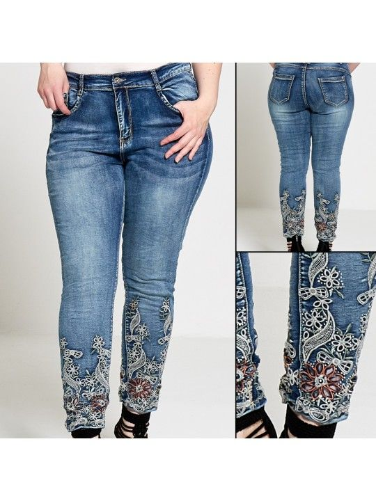 Wholesale Womens Curve Embroidered Hem Denim Jeans ( Pack of 10 )