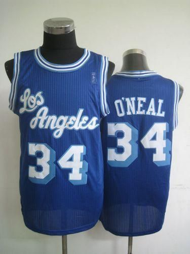 f151bd9f826 Lakers  34 Shaquille O Neal Blue Throwback Stitched NBA Jersey