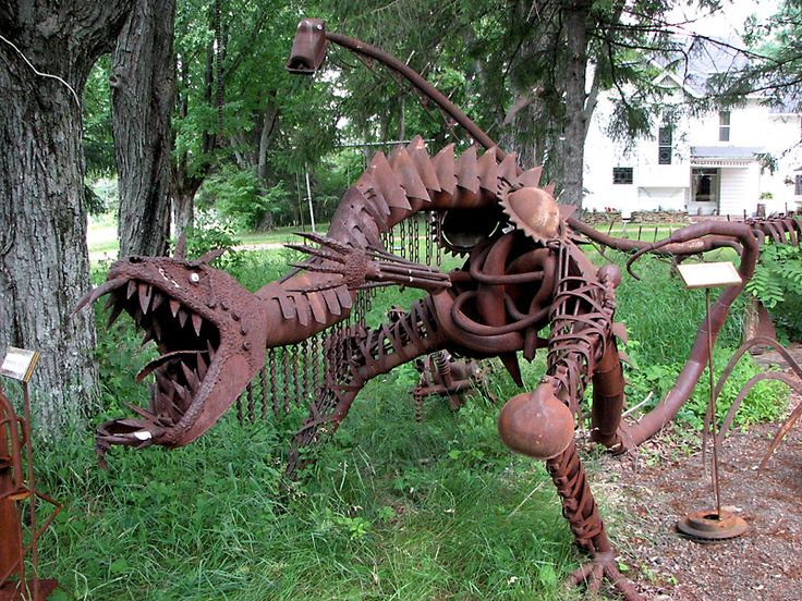 Clyde Wynia from Marshfield builds creatures from rusted metal.