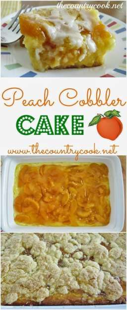 Peach Cobbler Cake from The Country Cook. Cake mix, peach pie filling ...