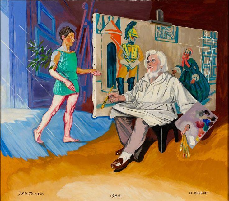 J.F. Willumsen 1863-1958 Michelle Bourret og J.F. Willumsen, Den gamle maler og hans muse, 1947, olie på lærred malet med zinkhvidt, 183 x 162 cm, J.F. Willumsens Museum, Frederikssund © J.F. Willumsen/billedkunst.dk Der findes endda eksempler på, at hun og Willumsen har arbejdet sammen, fx det sene maleri Den gamle kunstmaler og hans muse, der bærer begge kunstneres signatur.