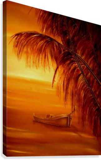orange, brown, living room decor, canvas print, tropical, seascape, sunset, palmtrees, boat