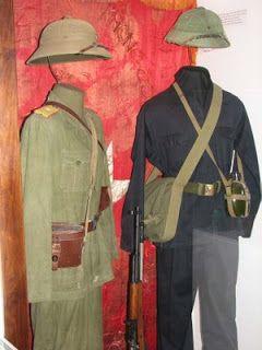 "VIETNAMESE NAVAL UNIFORMS | North Vietnamese officer and basic Vietcong fighting ""pajama"" uniforms"