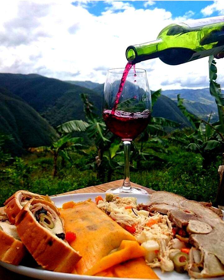 Plato navideño de fin de año con una copa de vino en Venezuela. Brindo por los alimentos!