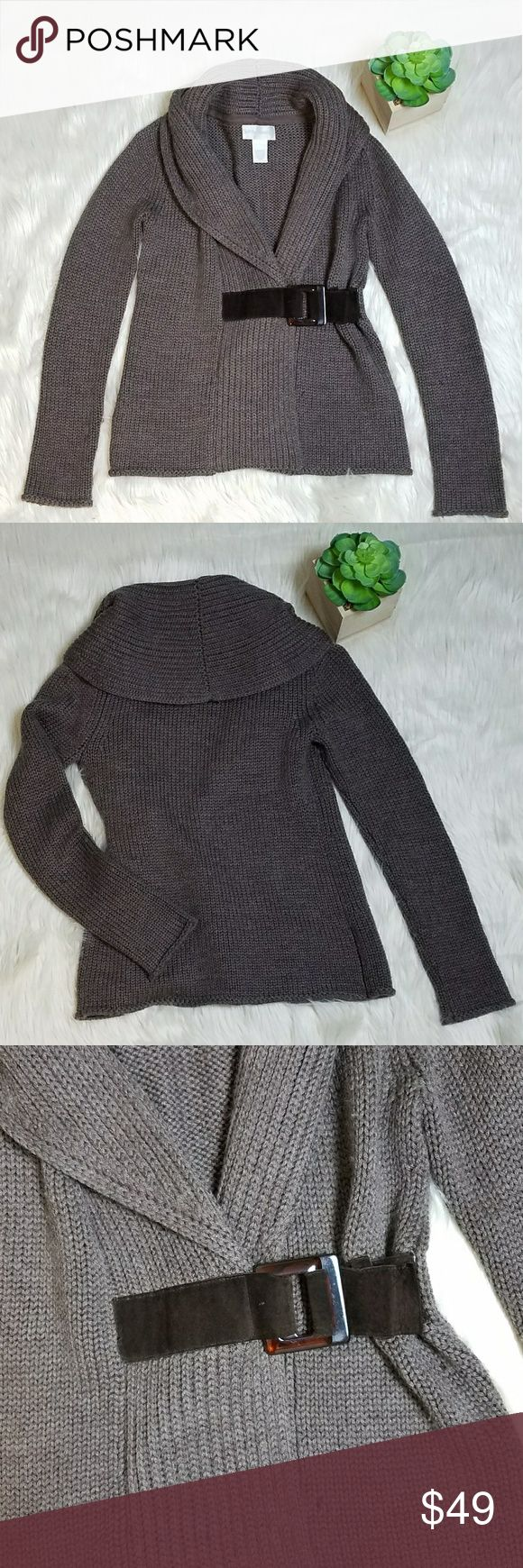 Soft Surroundings Brown Belted Cardigan Sweater Soft Surroundings Brown/Taupe Belted Cardigan Sweater   Size X small   Wool blend belted cardigan sweater with a foldover cowl neck Soft Surroundings Sweaters Cardigans
