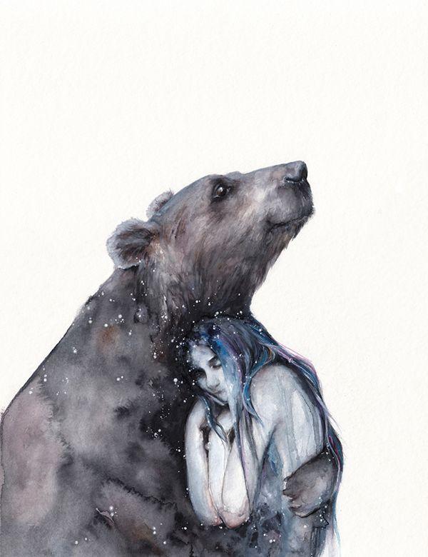 Friends by Oksana Dimitrenka on Behance. Watercolor. Bear and a girl.