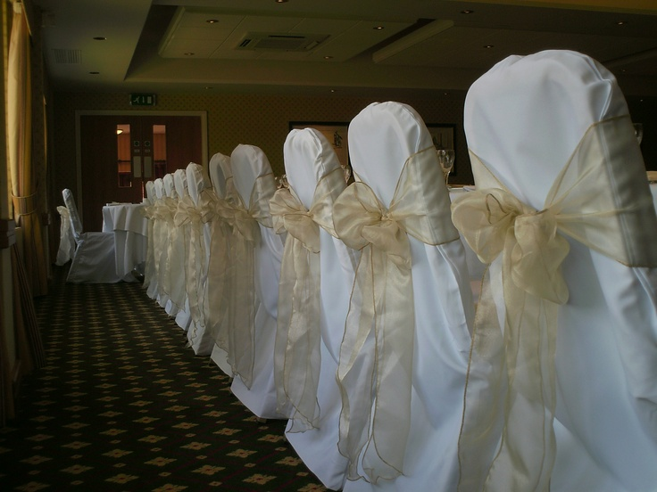 Champagne Organza Bows on White Chair Covers