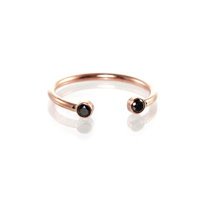 14k Gold Open Ring with Two Black Diamonds by Zoe Chicco