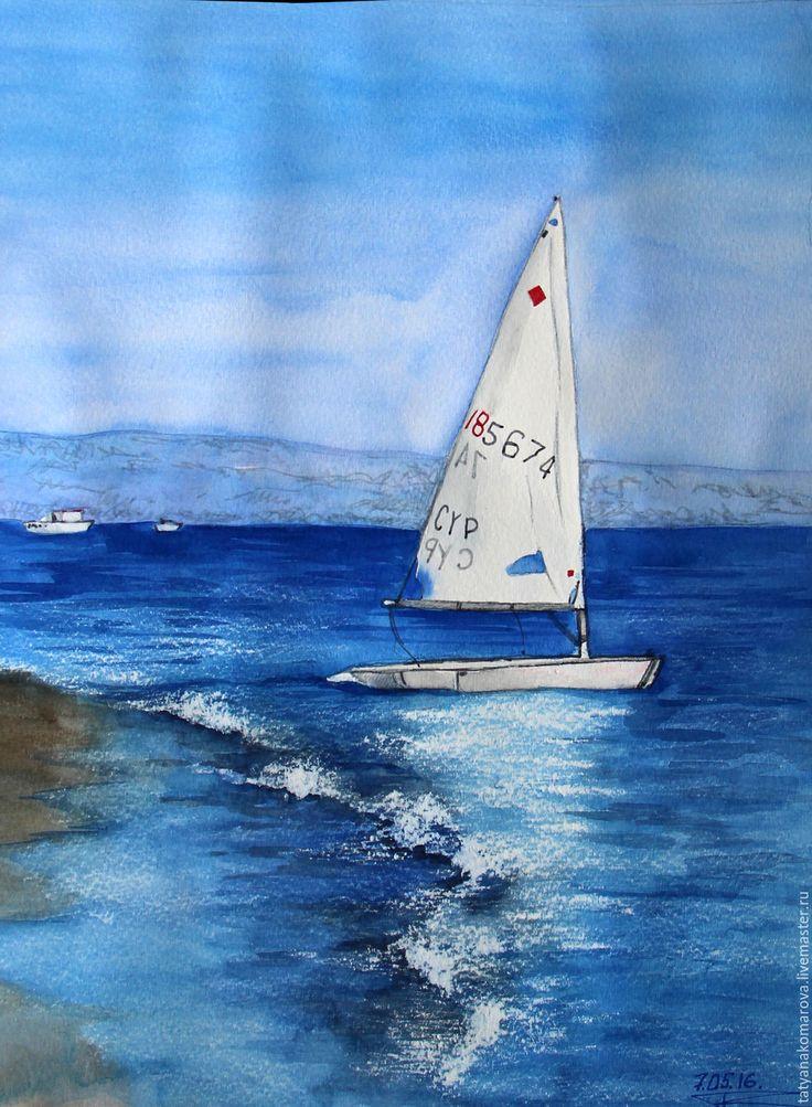 """Купить Акварельная картина """"На волнах"""" - синий, белый, акварельный рисунок, акварель, акварельная картина"""