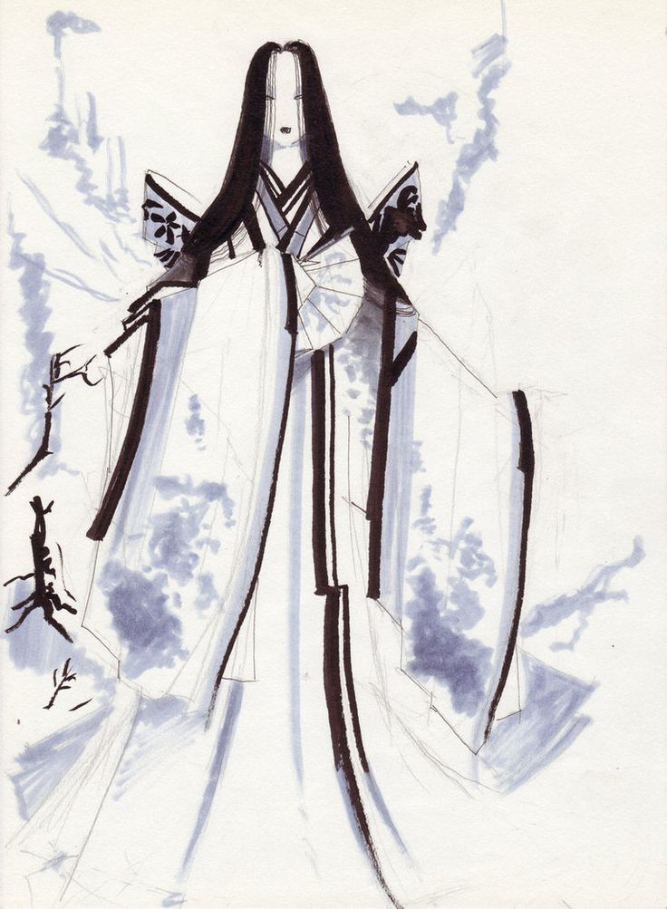 Yuki Onna, or snow woman. She lures men lost in snow storms to their doom.