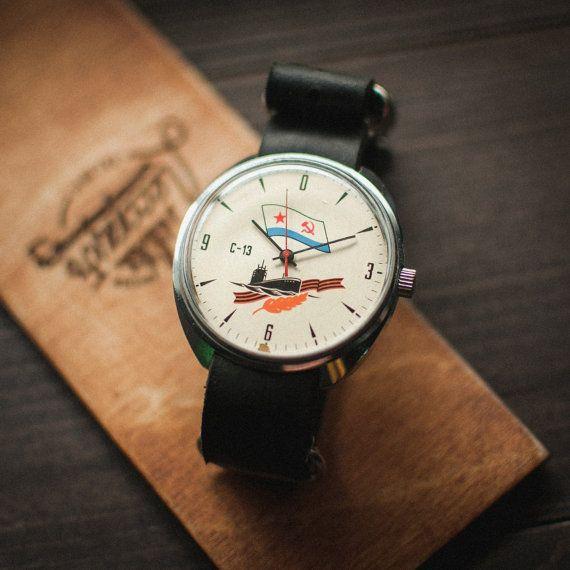 Rare white Raketa C-13, watch Rocket, unisex ussr watch, watch for him, boyfriends watch, mechanical watches, leather NATO strap