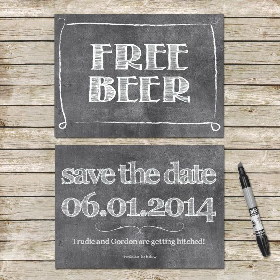 Funny Save The Date Cards / Chalkboard Hand Drawn by TheRocheShop
