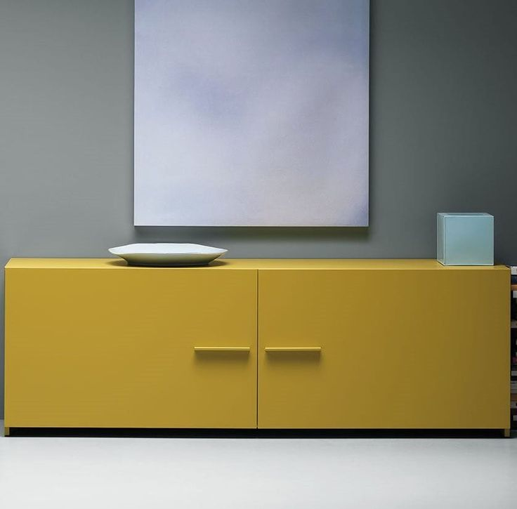Contemporary sideboard / lacquered wood / yellow EASY md house
