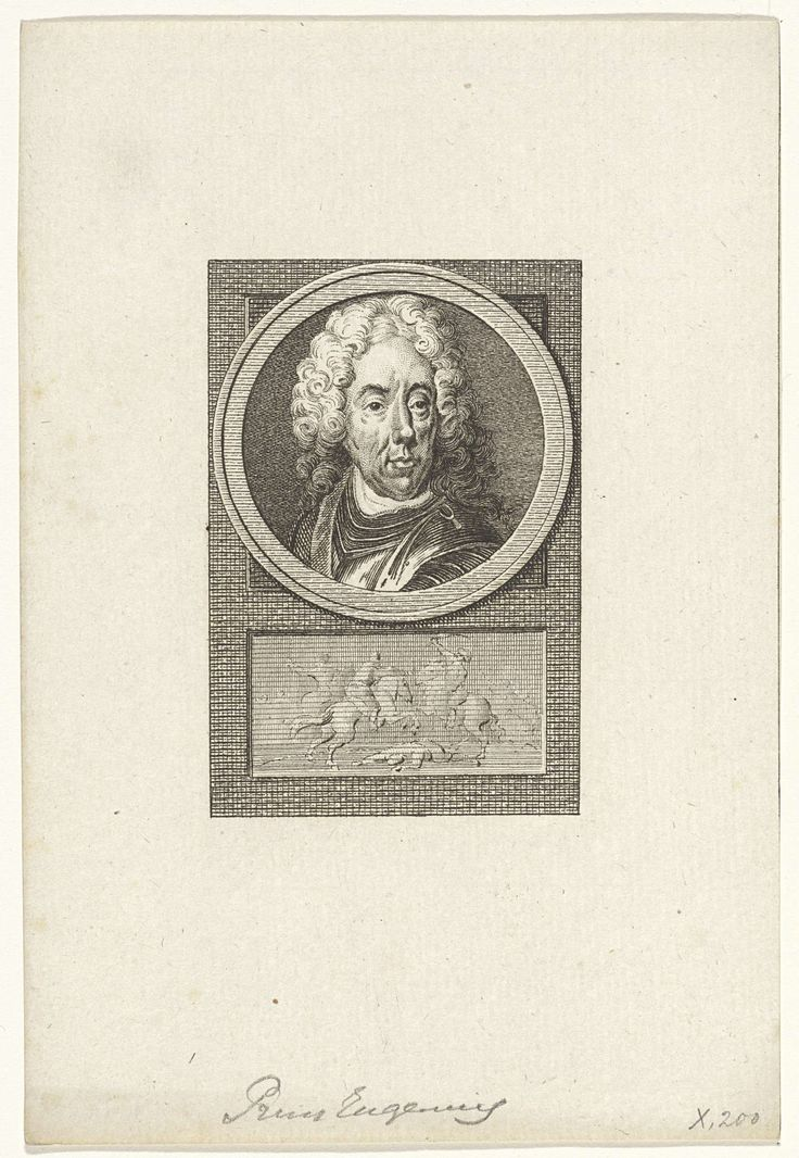 Reinier Vinkeles | Portret van Eugenius van Savoye, Reinier Vinkeles, Cornelis Bogerts, Jacobus Buys, 1783 - 1795 | Portret van de Franse generaal Eugenius van Savoye. Onder het portret een ruitergevecht.