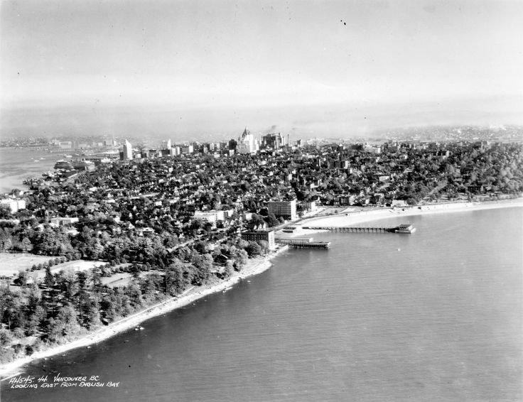 Image: City of Vancouver Archives 1930s: Looking east past English Bay, with the English Bay Pier in the centre and towering Hotel Vancouver in the background