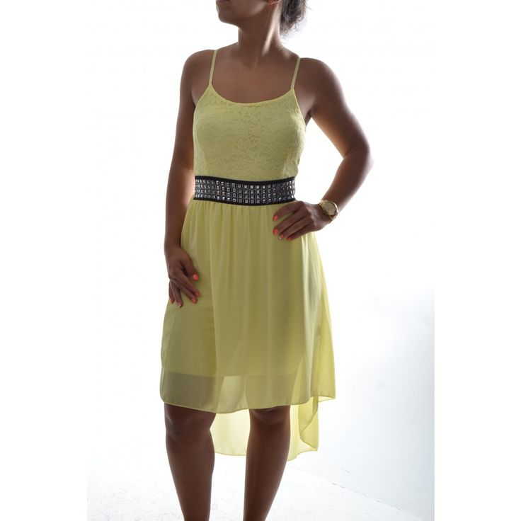 Dámske šaty vpredu krátke - žlté