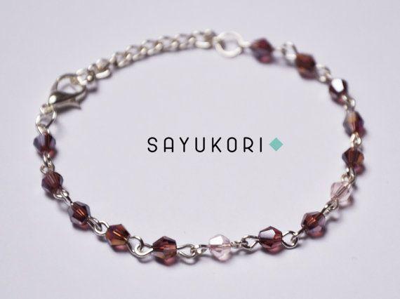 Crystal bracelet pink bracelet beaded bracelet bicone by Sayukori